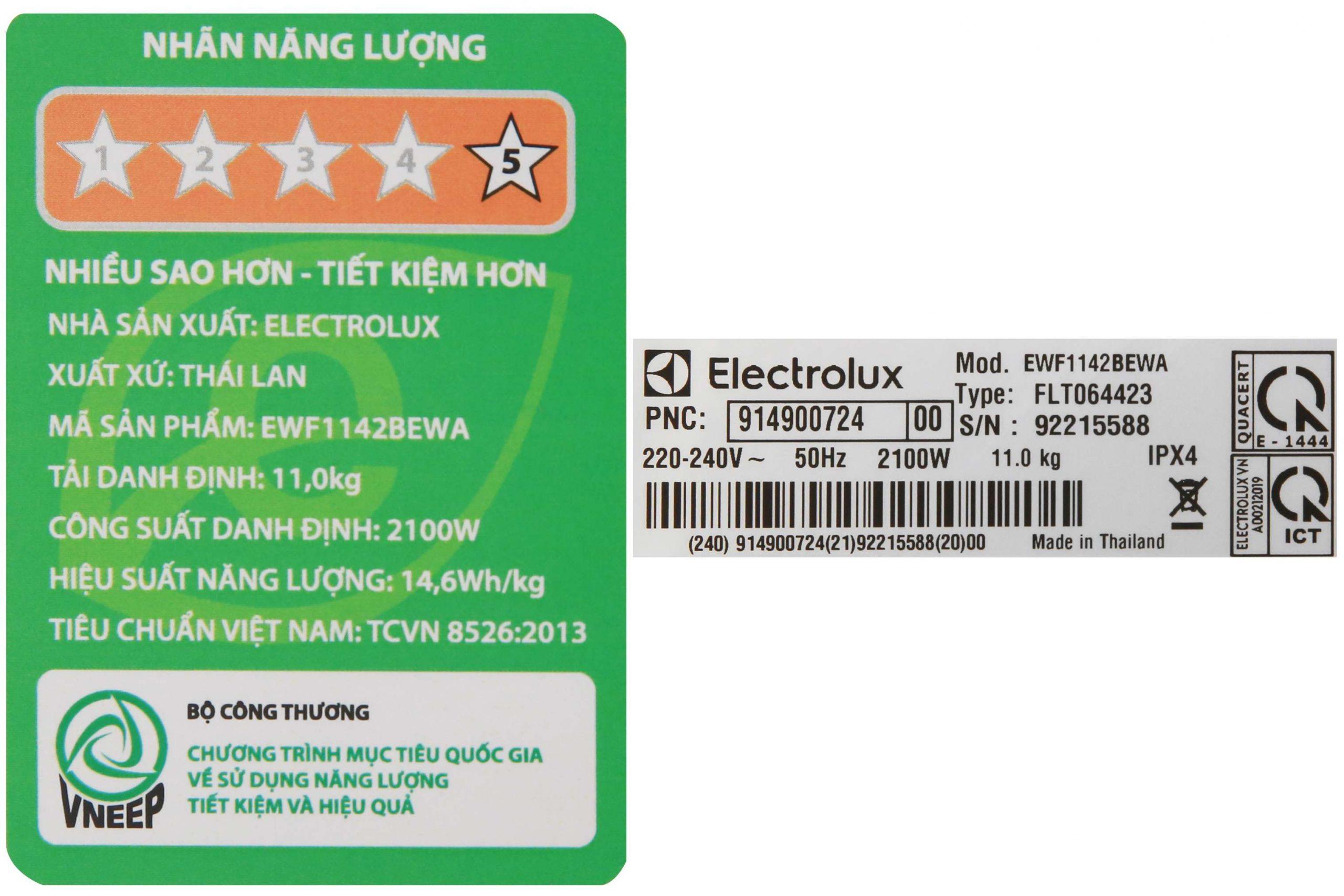 May Giat Electrolux 11 Kg Ewf1142bewa