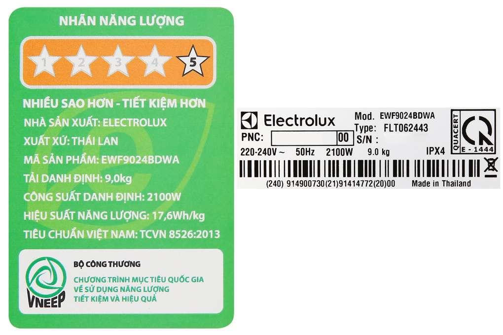 May Giat Electrolux 9 Kg Ewf9024bdwb