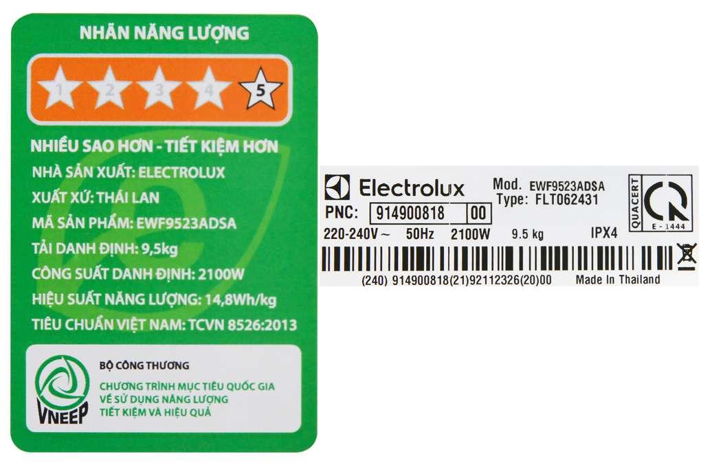May Giat Electrolux 9.5 Kg EWF9523ADSA