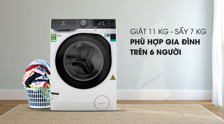 Khối lượng giặt 11 kg - Sấy 7 kg - Máy giặt sấy Electrolux Inverter 11 kg EWW1141AEWA