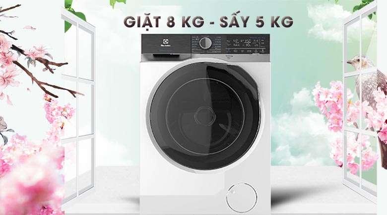 Khối lượng giặt 8 kg, khối lượng sấy 5 kg - Máy giặt sấy Electrolux Inverter 8 kg EWW8023AEWA