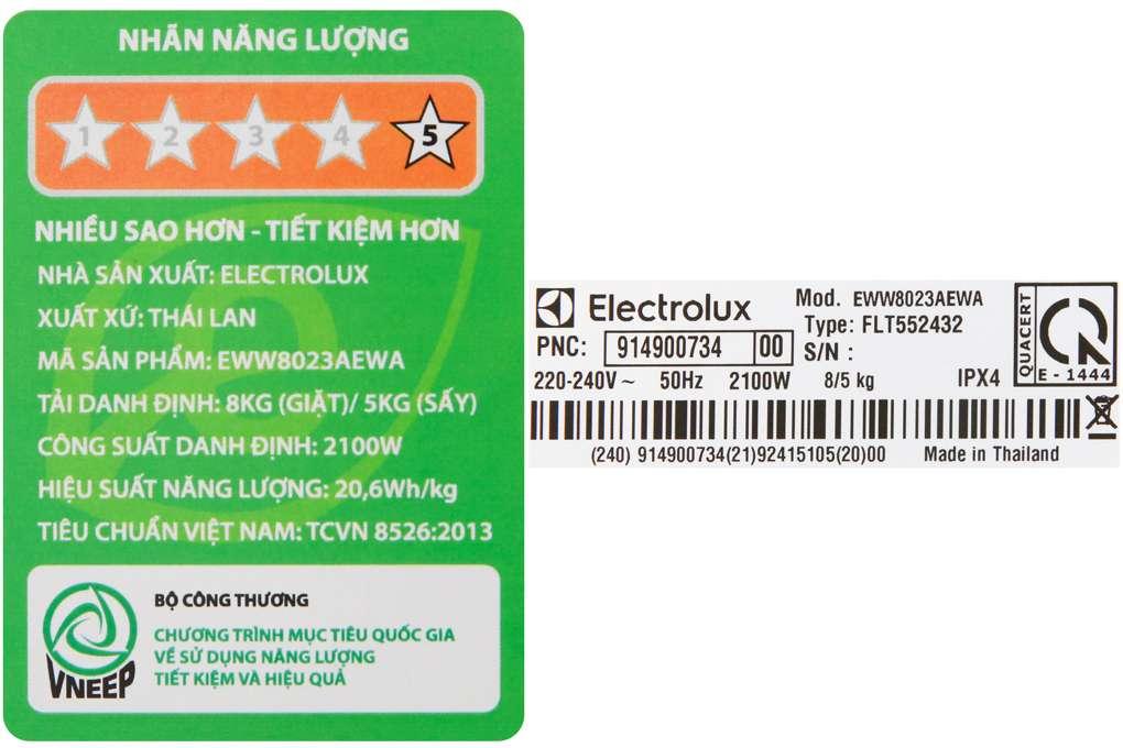 May Giat Say Electrolux Eww8023aewa 8 Kg
