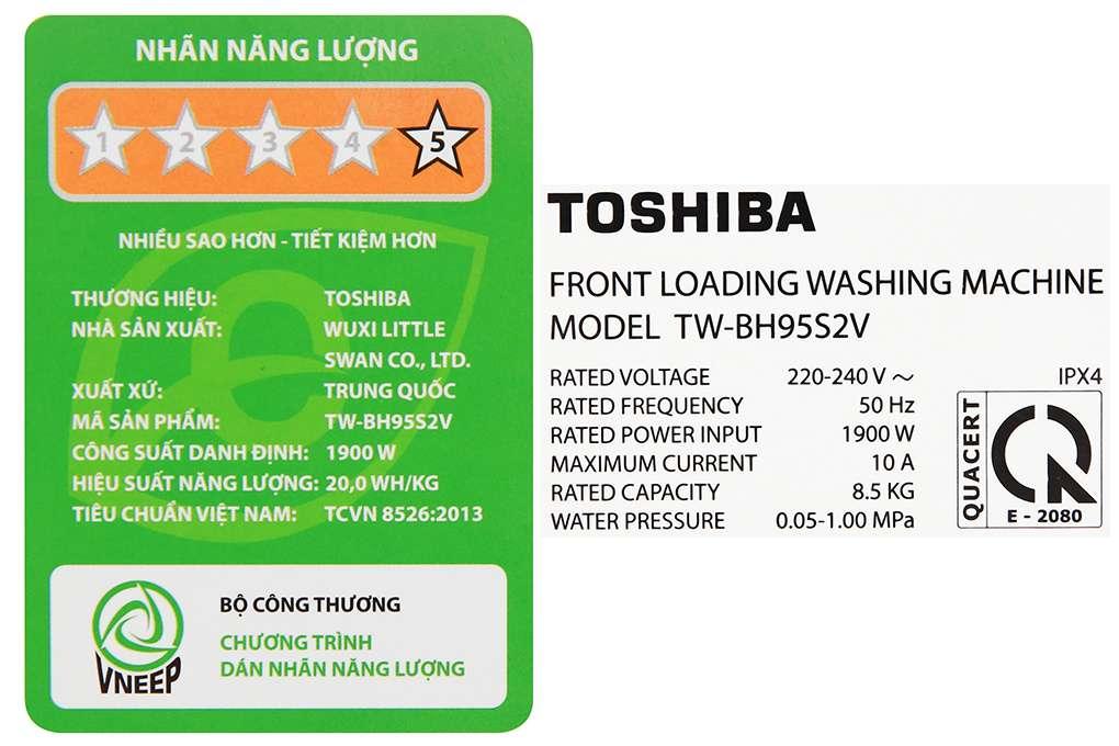 May Giat Toshiba Inverter 8.5 Kg TW BH95S2V WK
