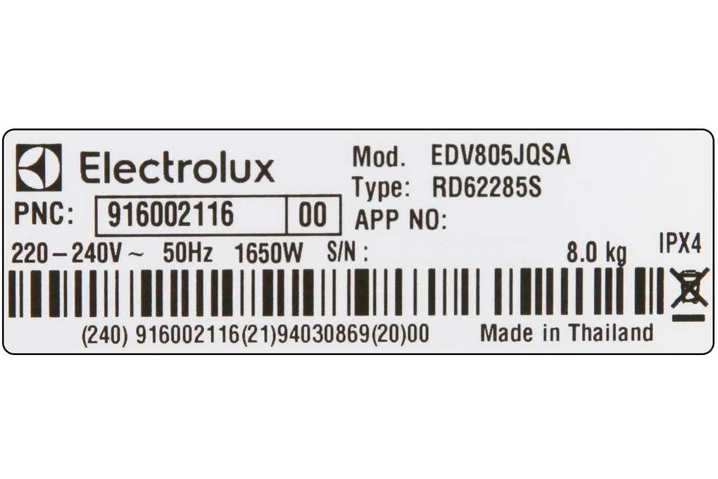 May Say Electrolux 8 Kg Edv805jqsa