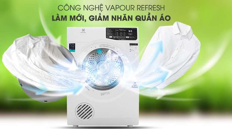 Máy sấy Electrolux 8 kg EDS805KQWA - Giảm nhăn và làm mới quần áo với công nghệ Vapour Refresh