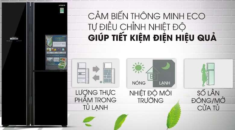 Cảm biến Eco - Tủ lạnh Hitachi Inverter 600 lít R-FM800PGV2 GBK