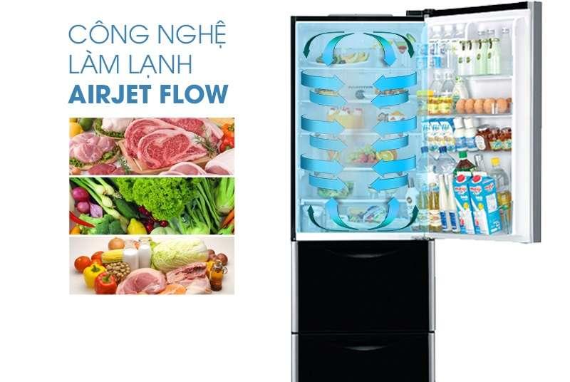 Công nghệ làm lạnh nhanh AIRJET FLOW - Tủ lạnh Hitachi inverter 375 lít R-SG38FPG