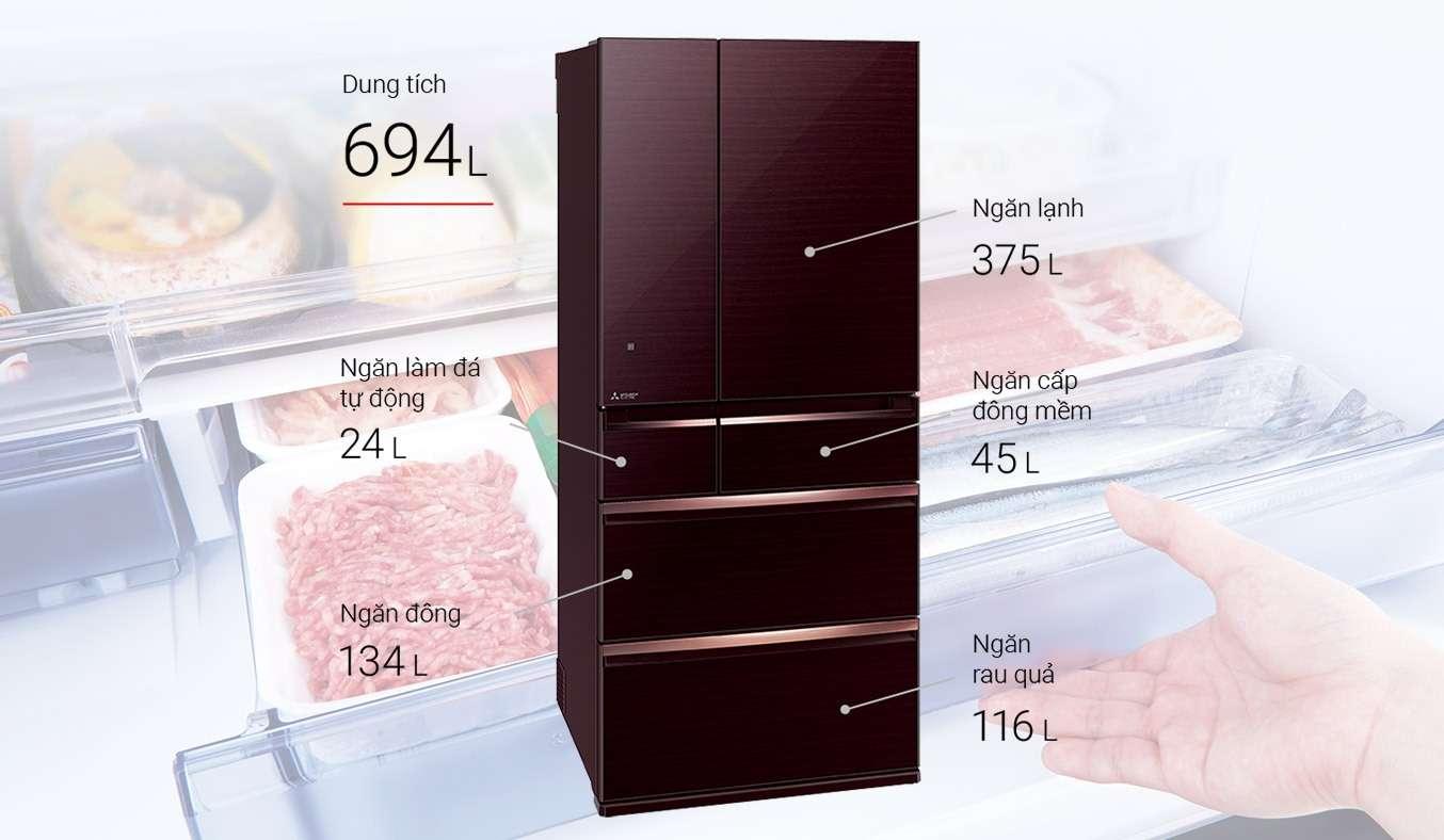Tủ lạnh Mitsubishi Electric 694 lít MR-WX70C-F-V