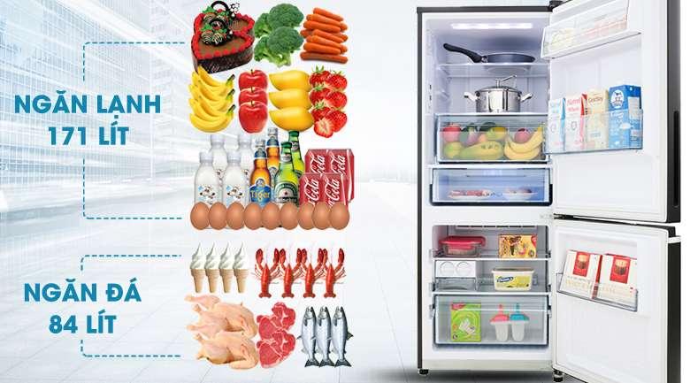 Dung tích 255 lít phù hợp cho gia đình 2 - 3 người - Tủ lạnh Panasonic Inverter 255 lít NR-BV280GKVN