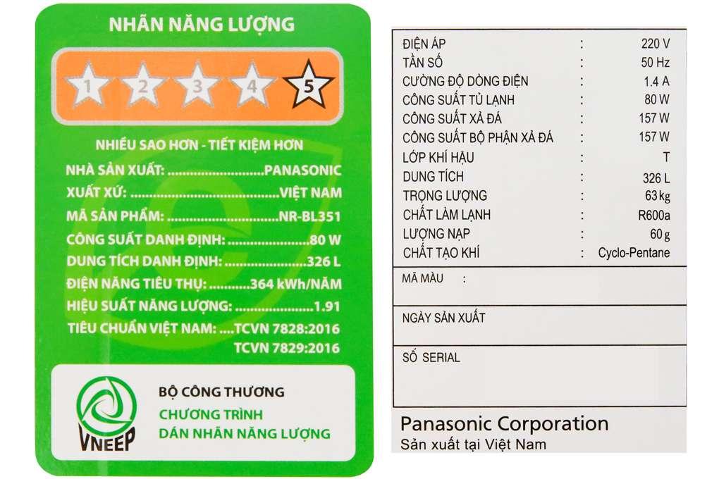 Tu Lanh Panasonic 326 Lit Nr Bl351gkvn