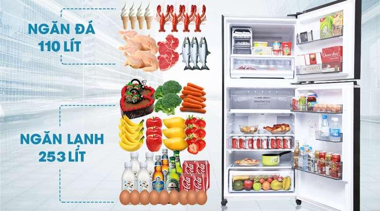 Tủ lạnh Panasonic Inverter 363 lít NR-BD418GKVN - Dung tích