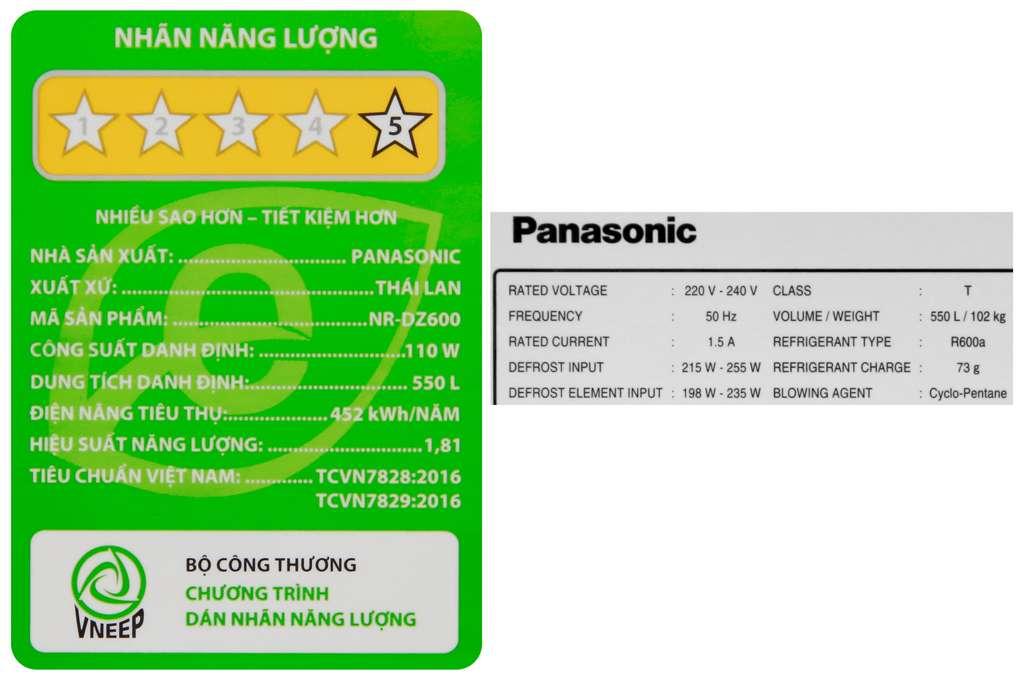 Tu Lanh Panasonic 550 Lit Nr Dz600gxvn