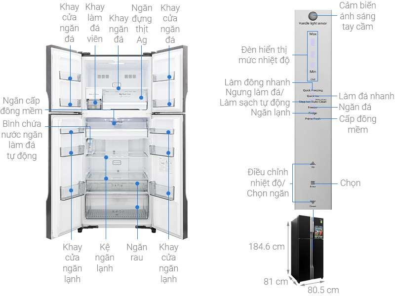 Thông số kỹ thuật Tủ lạnh Panasonic Inverter 550 lít NR-DZ600GXVN