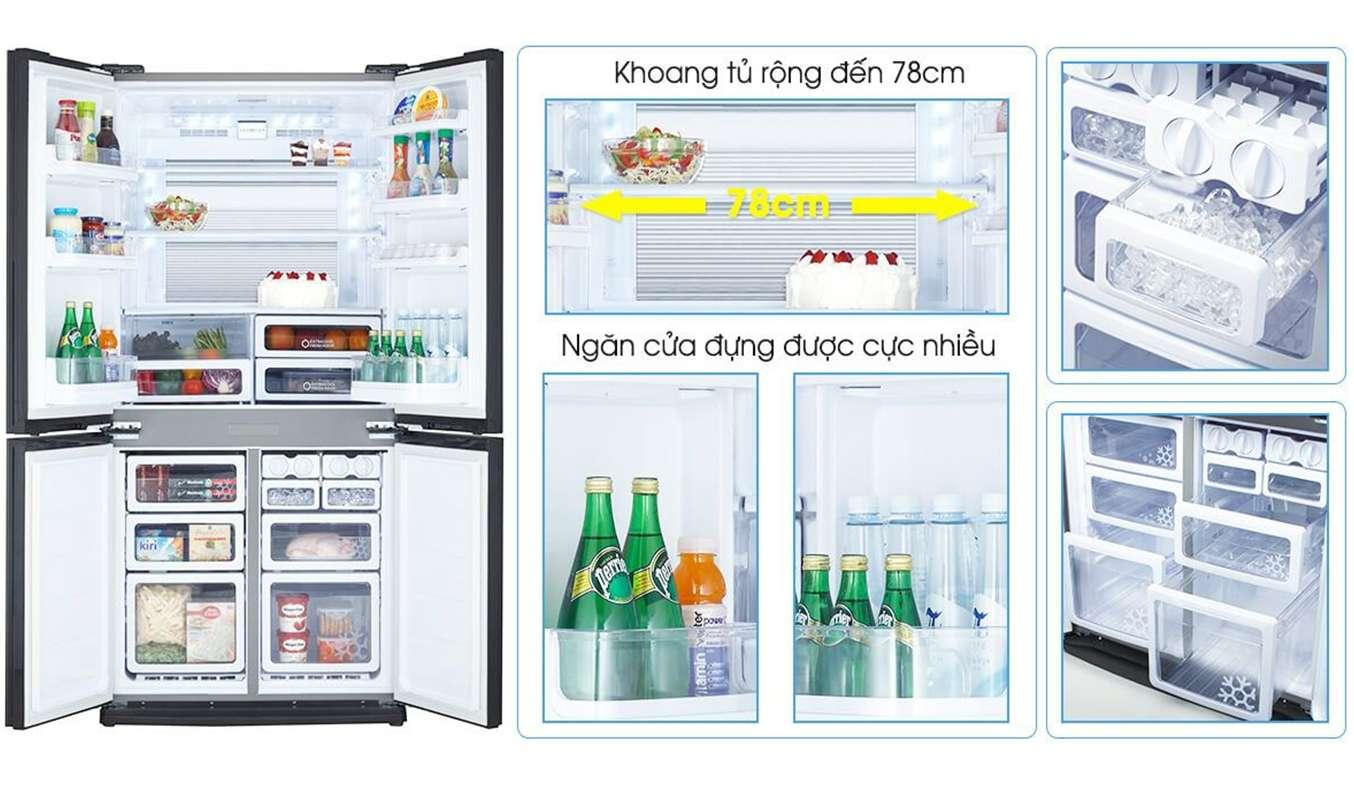 Tủ lạnh Sharp Inverter 678 lít SJ-FX688VG-BK với thiết kế tinh tế