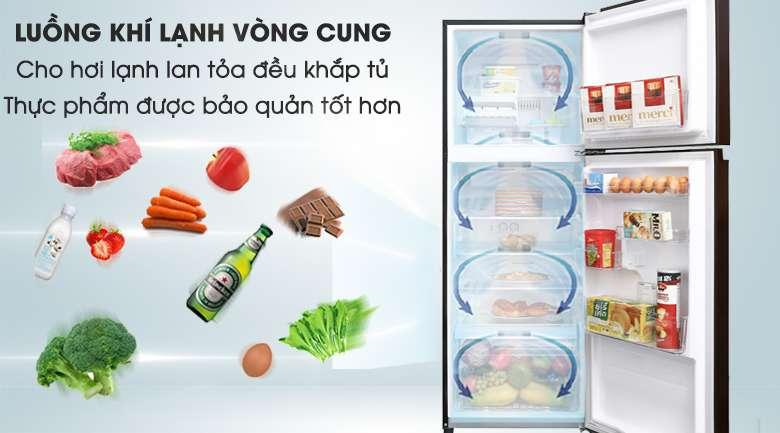 Luồng khí lạnh vòng cung giúp thực phẩm được làm lạnh đồng đều, hiệu quả - Tủ lạnh Toshiba Inverter 305 lít GR-AG36VUBZ XB