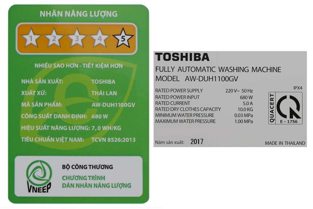 May Giat Toshiba Inverter 10 Kg Aw Duh1100gv