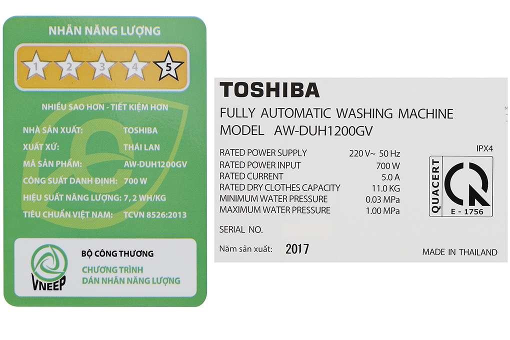 May Giat Toshiba Inverter 11 Kg Aw Duh1200gv Ds