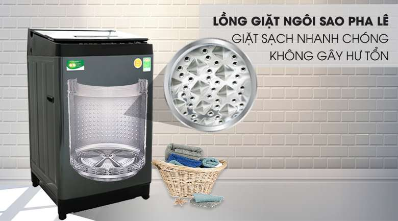 Máy giặt Toshiba Inverter 13 kg AW-DUJ1400GV KK - Nâng cao hiệu quả giặt sạch với kiểu lồng ngôi sao pha lê