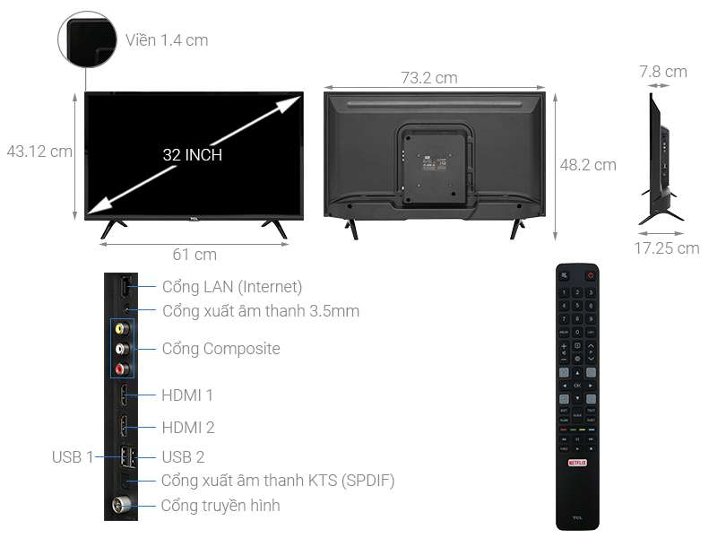 Smart Tivi Tcl 32 Inch L32s6300 Mau 2019