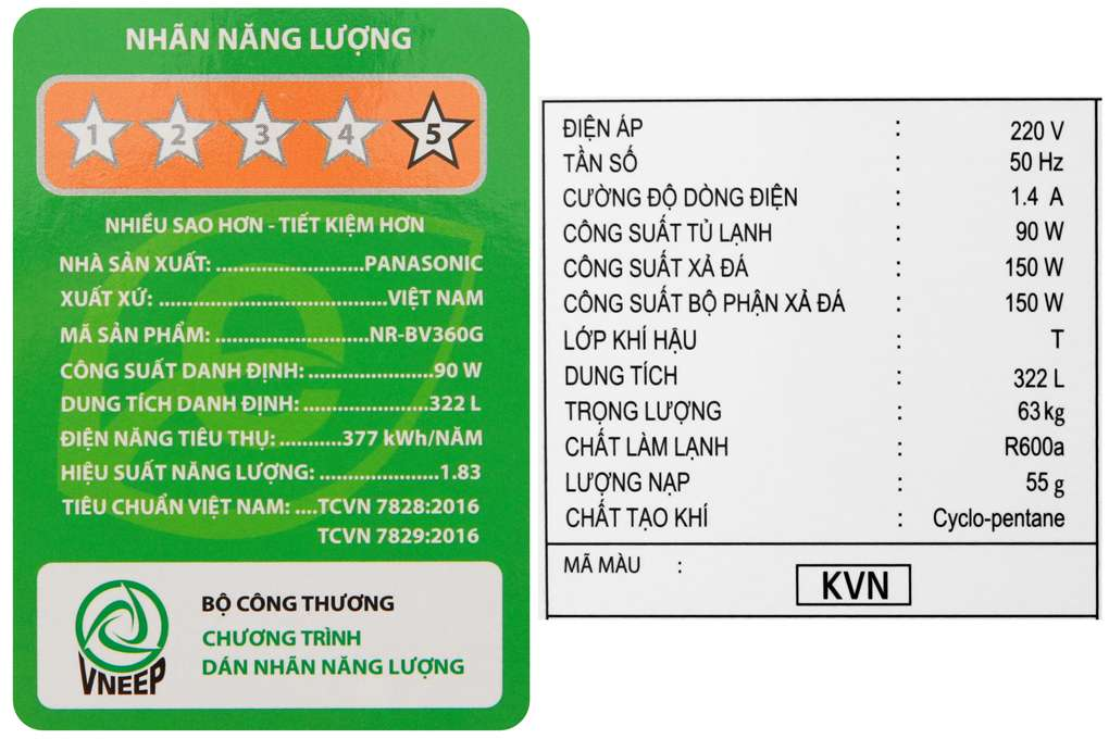 Tu Lanh Panasonic Inverter 322 Lit Nr Bv360gkvn