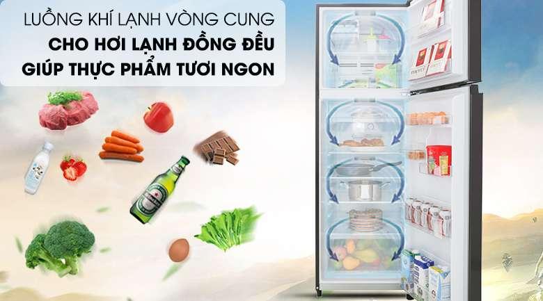 Luồng khí lạnh vòng cung - Tủ lạnh Toshiba Inverter 253 lít GR-B31VU SK