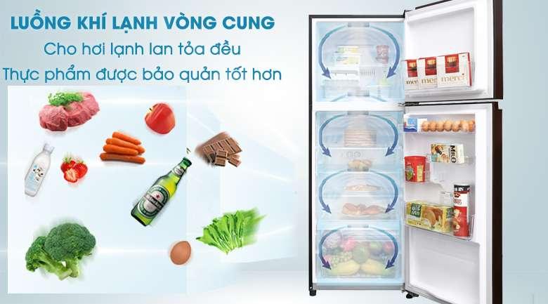 Luồng khí lạnh vòng cung - Tủ lạnh Toshiba Inverter 305 lít GR-AG36VUBZ XB1