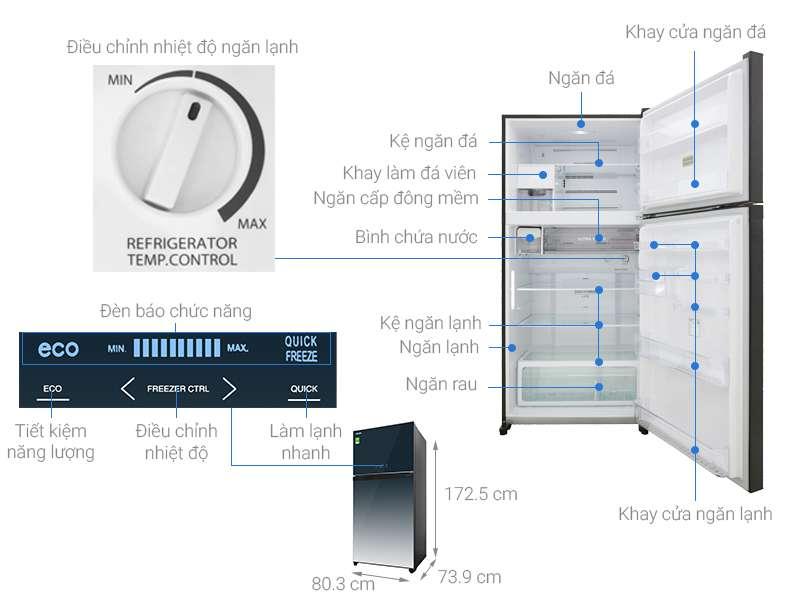 Thông số kỹ thuật Tủ lạnh Toshiba Inverter 555 lít GR-AG58VA GG