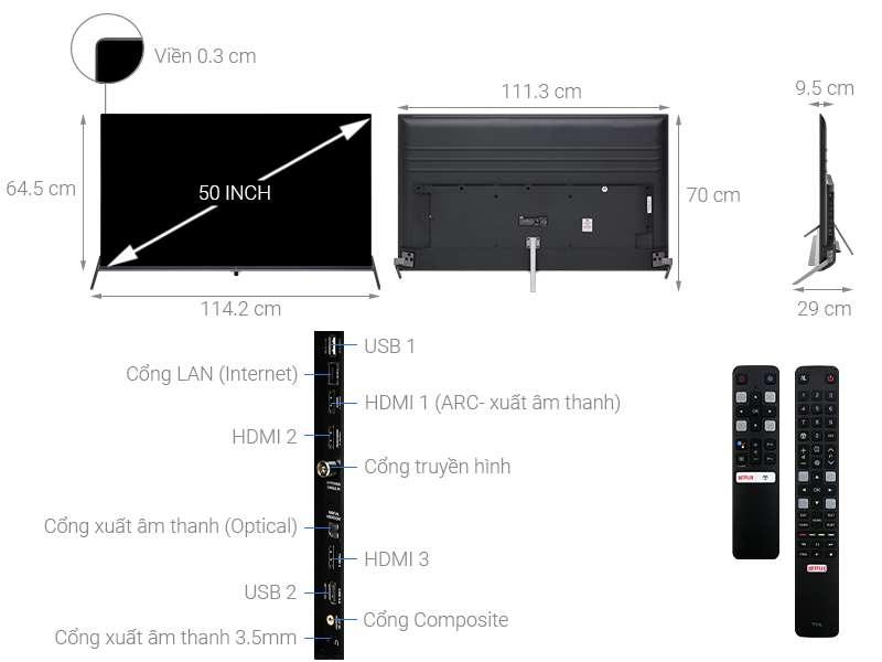 Thông số kỹ thuật Android Tivi TCL 4K 50 inch L50P8S