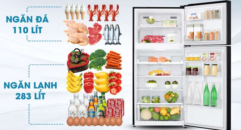 Tủ lạnh LG Inverter 393 lít GN-B422WB-Dung tích 393 lít, phù hợp gia đình 3 - 4 người sử dụng