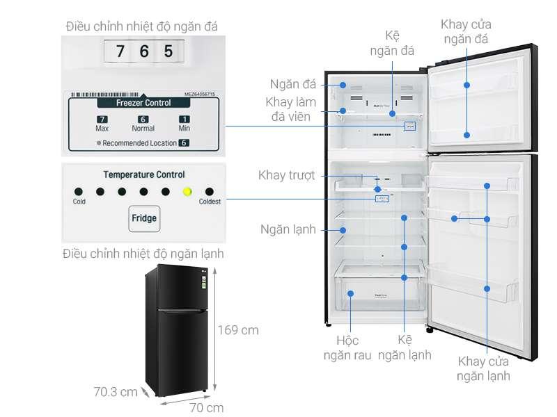 Thông số kỹ thuật Tủ lạnh LG Inverter 393 lít GN-B422WB