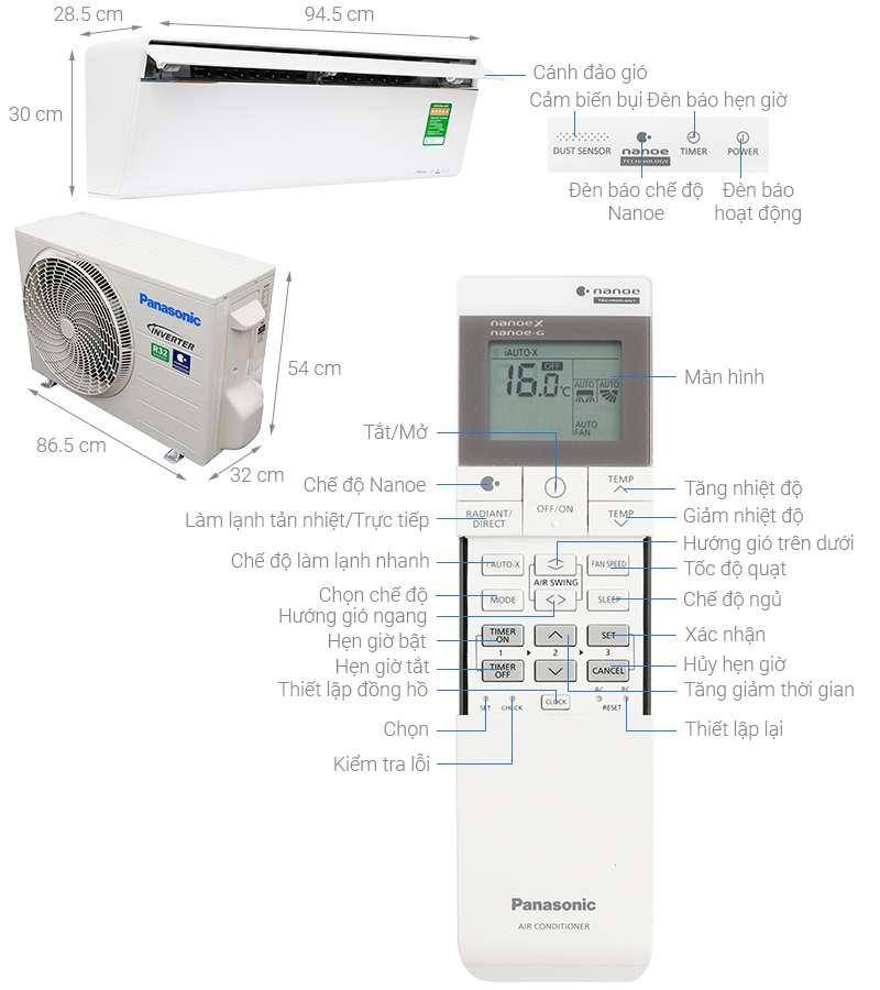 Thông số kỹ thuật Máy lạnh Panasonic Inverter 1 HP CU/CS-VU9UKH-8